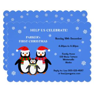 Convite da festa de Natal dos pinguins bonitos