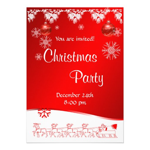 Convite da festa de Natal no fundo vermelho