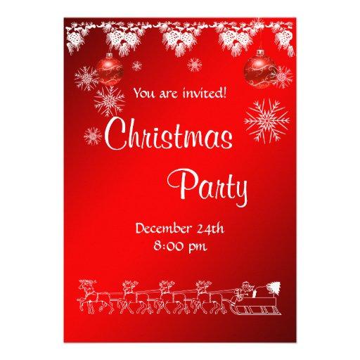 Convite da festa de Natal no vermelho
