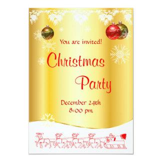 Convite da festa de Natal no vermelho e no ouro