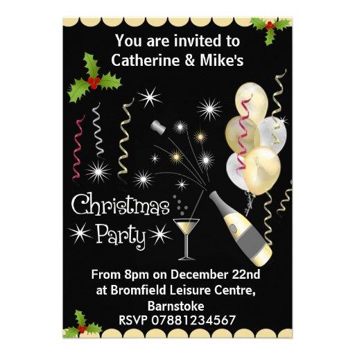 Convite da festa de Natal - preto & ouro