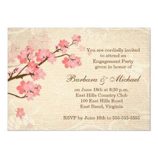 Convite da festa de noivado da flor de cerejeira