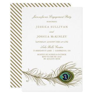 Convite da festa de noivado da pena do pavão