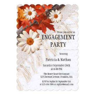 Convite da festa de noivado das folhas de outono