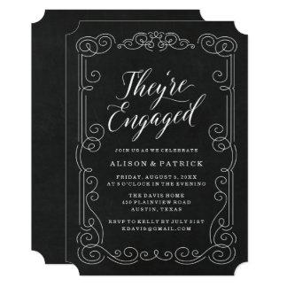 Convite da festa de noivado do quadro | do vintage