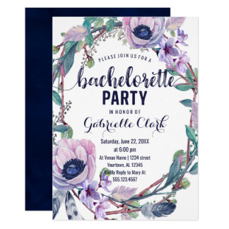 Convite da festa de solteira da pena de Boho