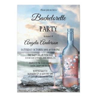 Convite da festa de solteira da praia e do vinho