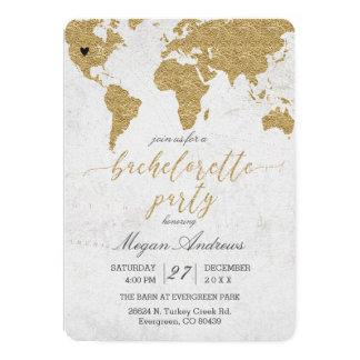 Convite da festa de solteira do mapa do mundo da