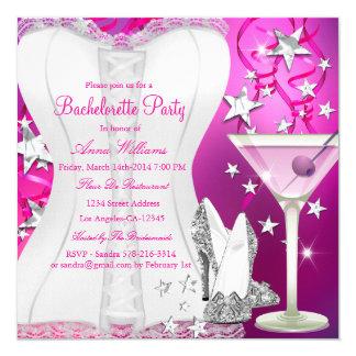 Convite da festa de solteira do rosa do espartilho