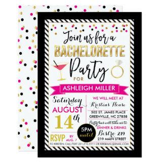 Convite da festa de solteira - preto, cor-de-rosa,