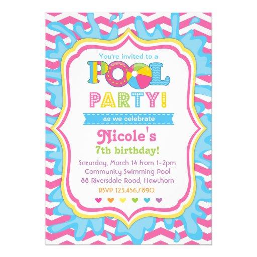 Convite da festa na piscina