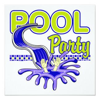 Convite da festa na piscina convite quadrado 13.35 x 13.35cm