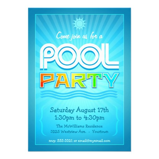 Convite da festa na piscina - celebração do divert