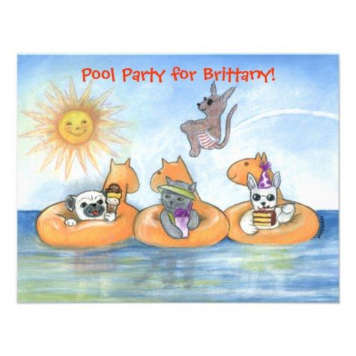 Convite da festa na piscina da criança