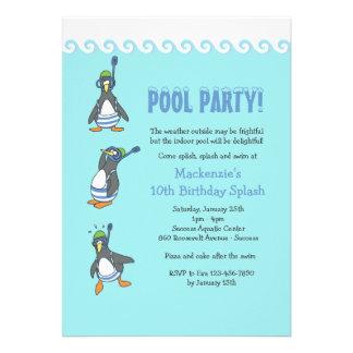 Convite da festa na piscina do inverno
