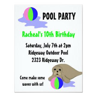 Convite da festa na piscina do leão de mar