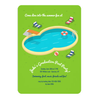 Convite da festa na piscina do quintal