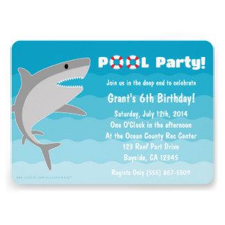Convite da festa na piscina do tubarão