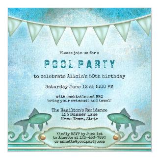 Convite da festa na piscina do verão da água