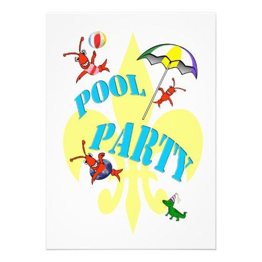 Convite da festa na piscina dos lagostins de Cajun