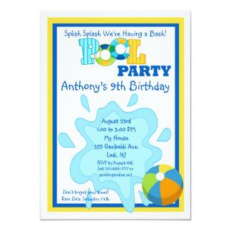 Convite da festa na piscina dos meninos do