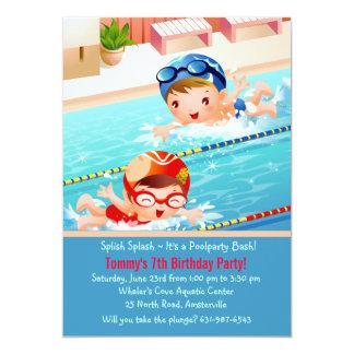 Convite da festa na piscina dos pequenos da