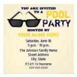 Convite da festa na piscina - óculos de sol pretos