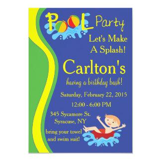 Convite da festa na piscina para o menino convite 12.7 x 17.78cm