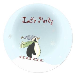 Convite da festa natalícia do miúdo do pinguim do