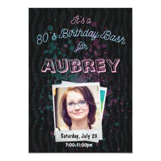 convite da festança do aniversário 80s - tema 5x7