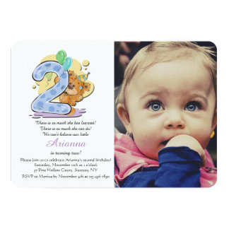 Convite da foto da criança de dois anos do urso de