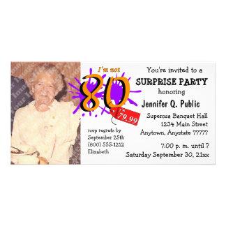 Convite da foto da festa de aniversário do 80 da s cartão com foto