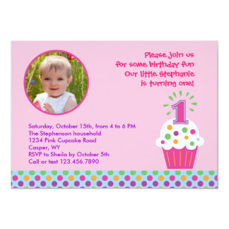 Convite da foto da festa de aniversário do cupcake