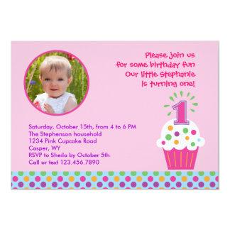 Convite da foto da festa de aniversário do cupcake convite 12.7 x 17.78cm