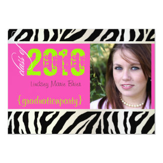 Convite da foto da graduação da zebra do rosa