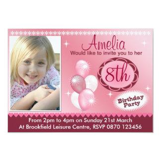 Convite da foto do aniversário das meninas - convite 12.7 x 17.78cm