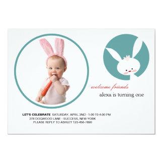 Convite da foto do aniversário de algum coelho