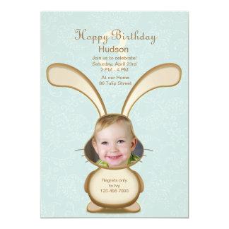 Convite da foto do aniversário do coelho