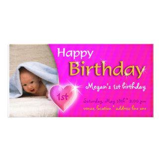 Convite da foto do aniversário do coração de Megan Cartão Com Foto