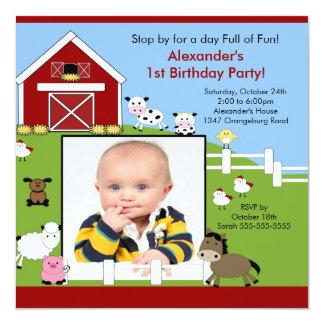 Convite da foto do aniversário dos animais Fun1st