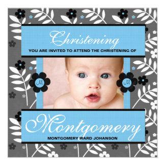 Convite da foto do batismo para o monograma do beb