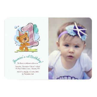 Convite da foto do bebê de um ano do urso de