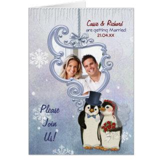 Convite da foto do casamento do pinguim cartão comemorativo