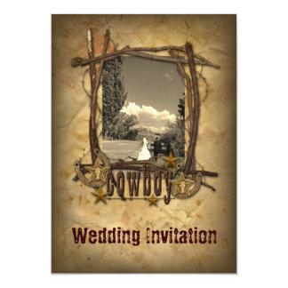 convite da foto do casamento do vaqueiro do país