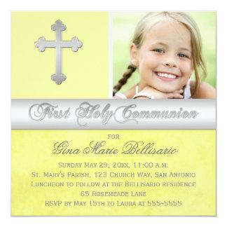 Convite da foto do comunhão santamente da prata