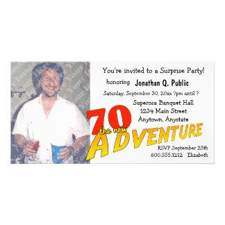 convite da foto do partido de aventura do aniversá cartão com foto