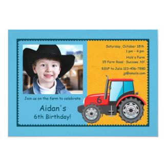 Convite da foto do veículo da fazenda do trator convite 12.7 x 17.78cm