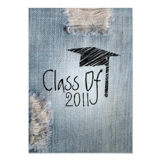 Convite da graduação - classe rasgada de jeans de convite 12.7 x 17.78cm