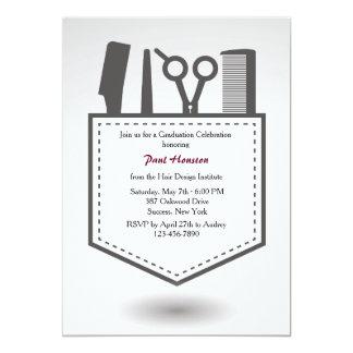 Convite da graduação do bolso do cabeleireiro