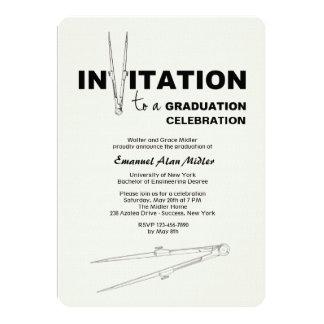Convite da graduação do compasso de desenho